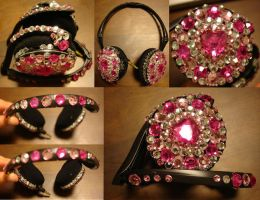 PINK Strass Hearphones by Kit-Kat-Choco