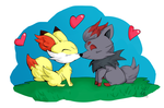 Kissing Foxes by SquirrelKitty76