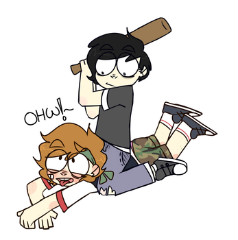 Two bois and a baseball bat by ghostxce