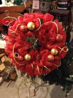 Christmas Wreath - Made with Sinamay Ribbon by ktkat42