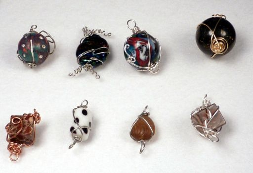 Wire Wrapped Beaded Pendants Group Shot by hillarybewilson