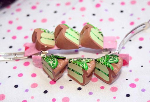Key Lime barrettes-hairclips by deabusamor