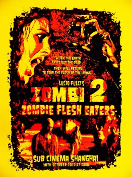 Zombi 2 / Zombie Flesh Eaters Silk Screened poster by r-k-n