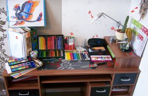 My traditional workspace by Acayth