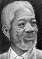 Sketch of Morgan Freeman by leonjie