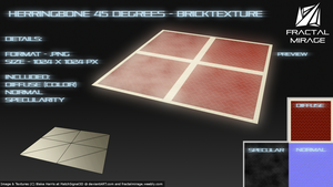 Herringbone 45 Degrees - Brick Texture #2 by MatchSignal3D