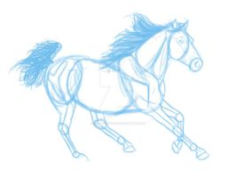 Running Horse Sketch by EquideDesigns
