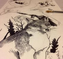 Fox and raven tattoo design WIP by Kaos-Nest