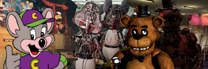Freddy Fazbear VS Chuck E Cheese (The Bonus DRB) by dragonsblood23