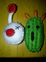 Moogle and Cactaur Plush Pins by Demon-of-Laplace