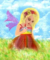Fairy girl with Gnome Friend by muertosdesigns