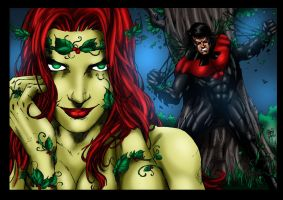 Poison Ivy Vs Nightwing by MarcBourcier