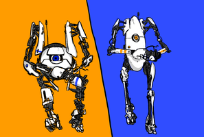 Portal 2: Atlas and P Body by yortman1