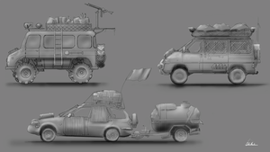Post Apocalyptic Vehicle-sketches by Mjauei