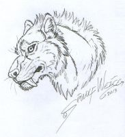 Last from 2013 - Smilodon face sketch by Lorfis-Aniu