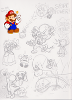 Mario-Related Sketches by JamesmanTheRegenold