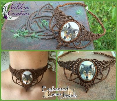 Macrame handwoven Neckalce with Fimo Wolf Cammeo by Nakihra