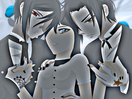 The three demons - Sebastian, Scarlett, and Claude by Sweetgirl333
