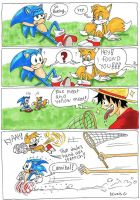 One Piece, Luffy meets  sonic by heivais