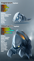 Fakemon Collab: Vaporawn and Adamantis by Epifex