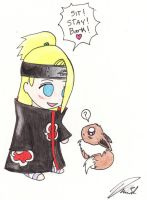 Deidara and Eevee by Puppetgirl101