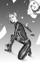 Black Widow Black and White by AdamLimbert