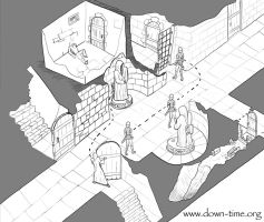 Isometric Dungeon Scene by jallen327