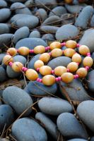 Vintage Multicolored Wood Bead Choker and Bracelet by thumbelyna