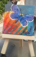 Butterfly colorful Mini Canvas by strryeyedreamr27