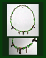 Green Wolf Necklace by MorRokko