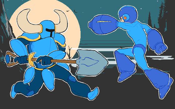 Shovel knight v. Mega man by foxcrusade
