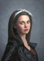 Girl in a leather jacket Oil on Canvas by StephenAinsworth