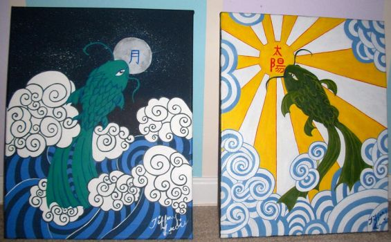 Moon and Sun Koi fishes by TiffanySamanthaLewis