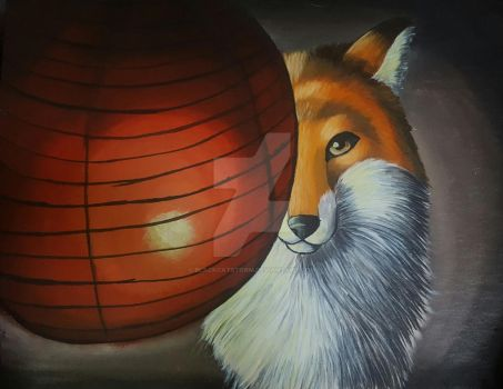 Fox and a paper lantern by blackcatstorm