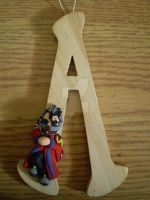 Wooden Letter - Auron by CrowMaiden