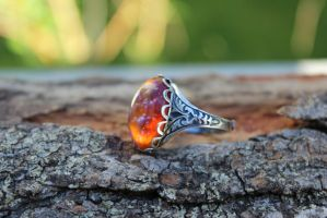 Dragon Fire Ring Vintage Stone one of a kind by artistiquejewelry