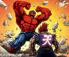 Akuma vs. Red Hulk by gaudiamo