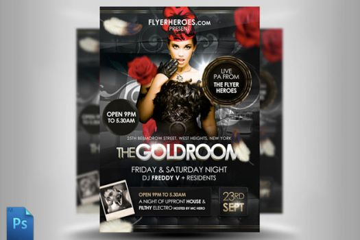 The Goldroom Flyer Template by quickandeasy1