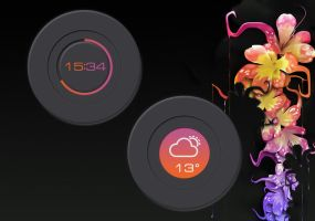 Fluorescent Clock and Weather for xwidget by jimking