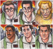 Ghostbusters ACEO Sketch Cards 6 Set by ChrisMcJunkin