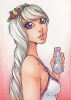 ACEO 130:'Drink Me'-  Yoghurt Drink by Forunth