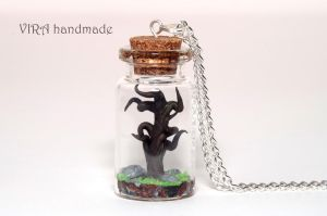 Old tree in a glass jar necklace by virahandmade