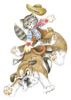 Bucking Bulldog - Cowboy Cat by bigcatdesigns