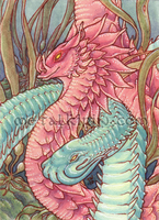 Entwined Serpents ACEO by thedancingemu