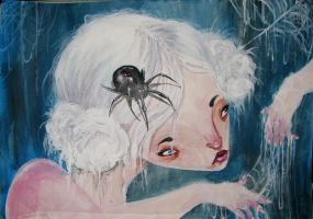 her hair held back with spider by like-textas