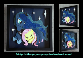 Commission: Cuddling Luna and Fluttershy Shadowbox by The-Paper-Pony
