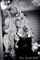 Steampunk Alice Black and White 3 by NoFlutter