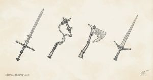 Weapon concepts by Edarneor