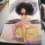 Watercolor Afro girl  by Dariustheruler