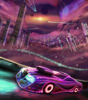car and space city by StarWolfEmperial